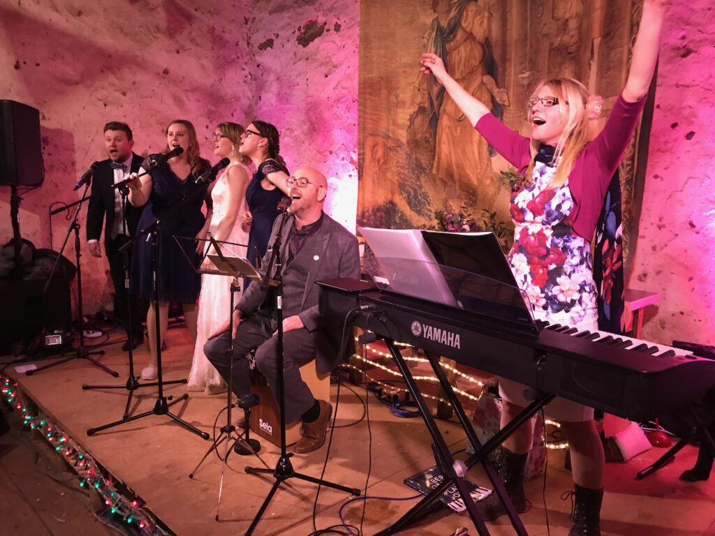 Bride, relatives and guests performing on stage at a wedding reception near Exeter