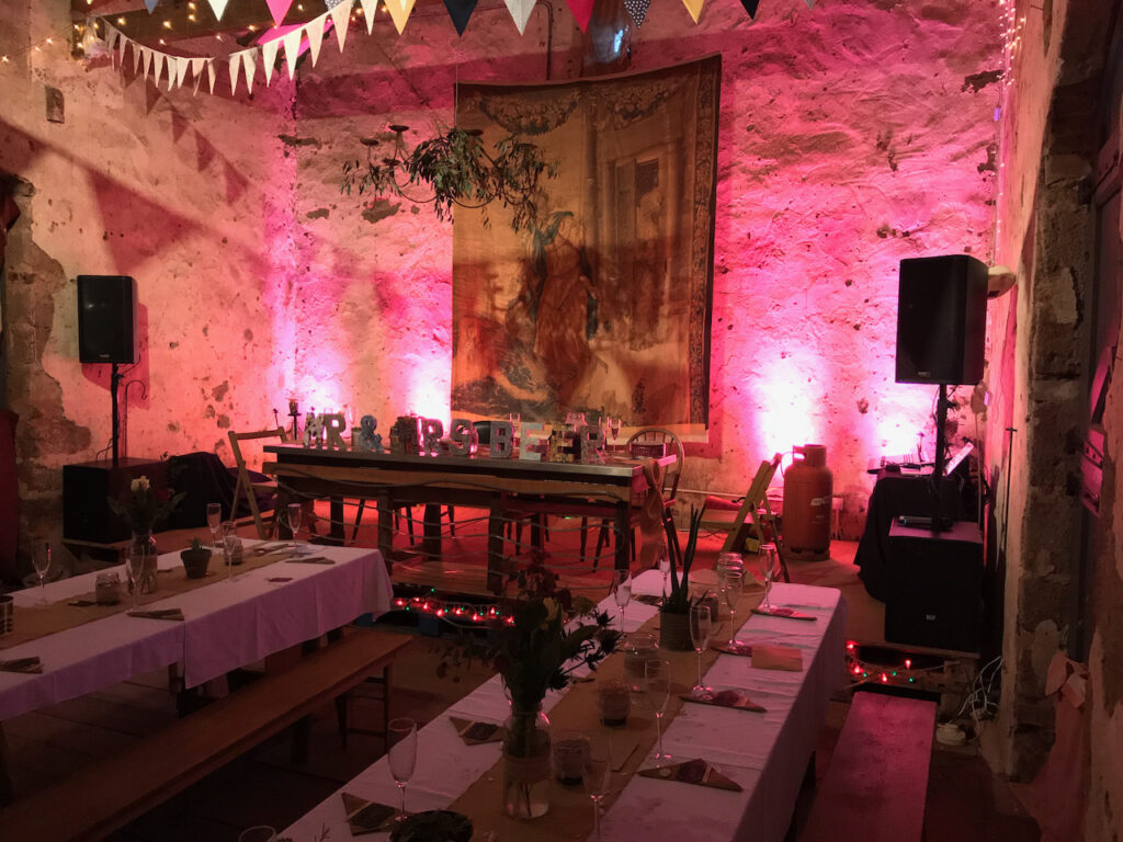 A PA system and lights installed in Bickham Barn in Kennford near Exeter, ready for a wedding reception
