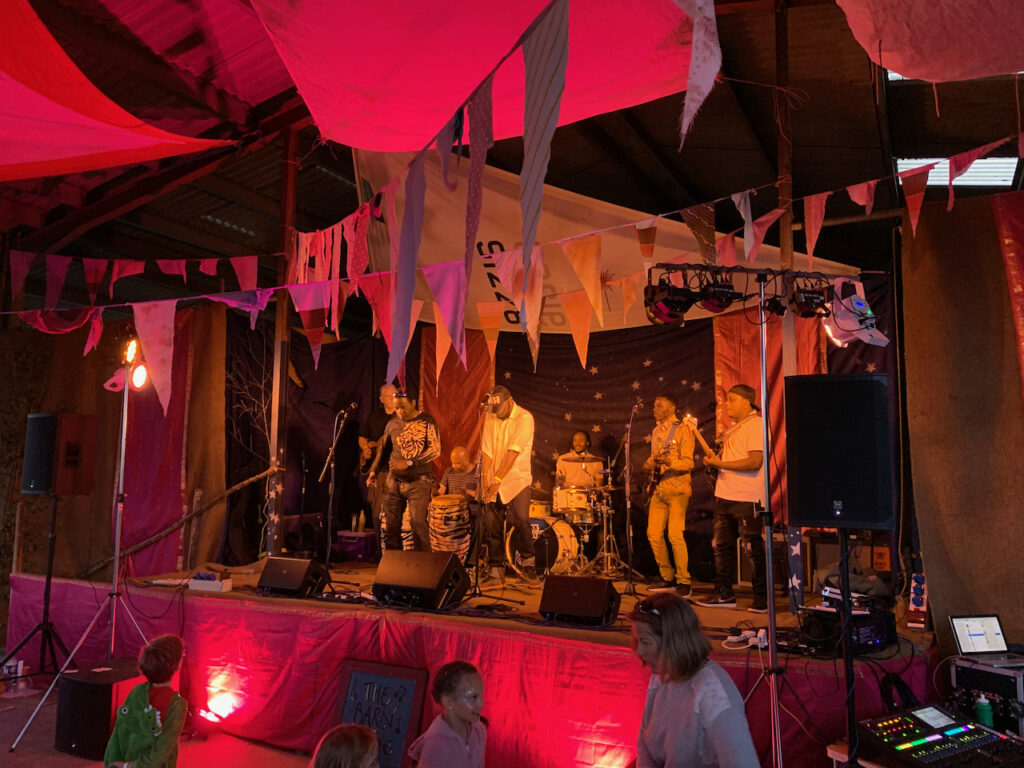 Providing band PA for the Song Zing Allstars on stage at Goren Festival, Devon